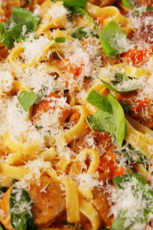 """<p>Weeknight dinner pastas are considered a staple at Delish. This pasta is hearty and simple and has all of our favourite things. If you are into the Tuscan butter vibe as much as we are, try out <a href=""""http://www.delish.com/uk/cooking/recipes/a28909207/chicken-bacon-and-spinach-spaghetti-recipe/"""" rel=""""nofollow noopener"""" target=""""_blank"""" data-ylk=""""slk:Tuscan Chicken Pasta"""" class=""""link rapid-noclick-resp"""">Tuscan Chicken Pasta</a> next! </p><p>Get the <a href=""""https://www.delish.com/uk/cooking/recipes/a29734634/creamy-tuscan-sausage-pasta-recipe/"""" rel=""""nofollow noopener"""" target=""""_blank"""" data-ylk=""""slk:Creamy Tuscan Sausage Pasta"""" class=""""link rapid-noclick-resp"""">Creamy Tuscan Sausage Pasta</a> recipe.</p>"""