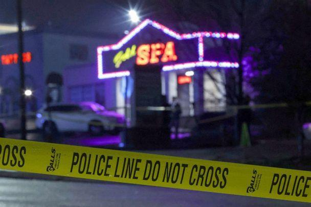 PHOTO: Crime scene tape surrounds Gold Spa after deadly shootings at a businesses in the Atlanta area, March 16, 2021.  (Christopher Aluka Berry/Reuters, FILE)