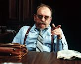 America actor Wilford Brimley (as Wells) points as he sits behind a desk in a scene from 'Absence of Malice' (directed by Sydney Pollack), 1981. (Photo by Silver Screen Collection/Getty Images)