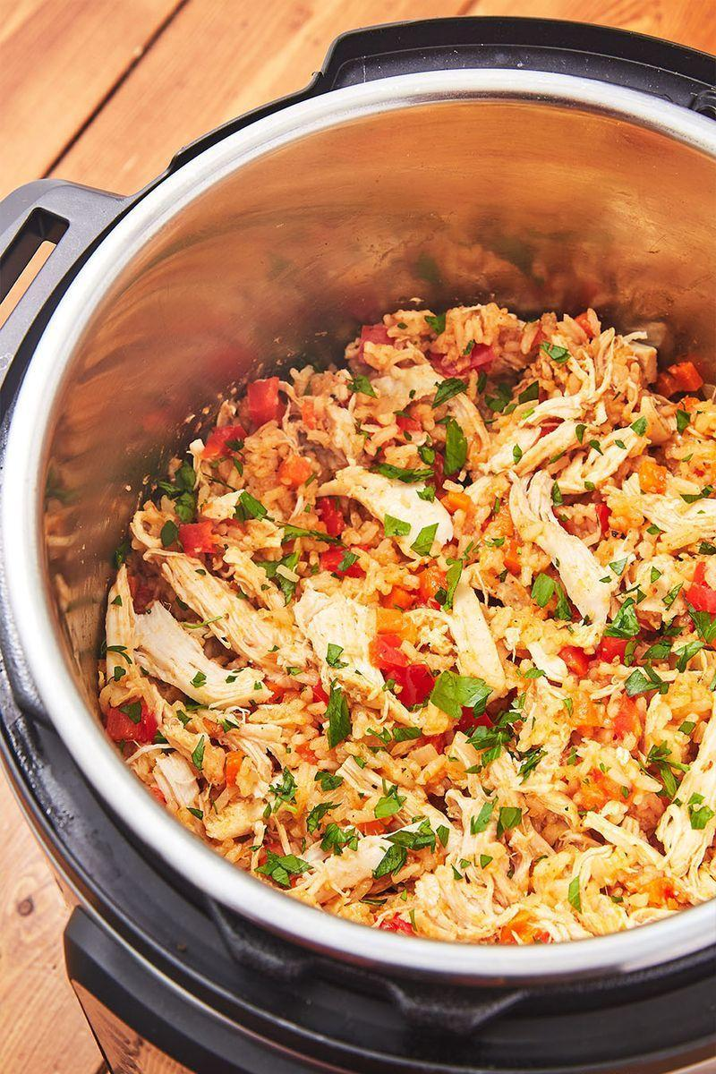 """<p>If there's one thing we find magical about Instant Pots, it's how quickly and perfectly they cook chicken and rice. The rice is the perfect texture and the chicken is insanely tender. This is the meal we cook in the Instant Pot the most often. </p><p>Get the <a href=""""https://www.delish.com/uk/cooking/recipes/a30165483/instant-pot-chicken-and-rice-recipe/"""" rel=""""nofollow noopener"""" target=""""_blank"""" data-ylk=""""slk:Instant Pot Chicken and Rice"""" class=""""link rapid-noclick-resp"""">Instant Pot Chicken and Rice</a> recipe. </p>"""