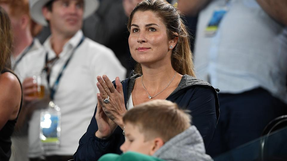 Mirka Federer, pictured here watching Roger to the Australian Open in 2020.