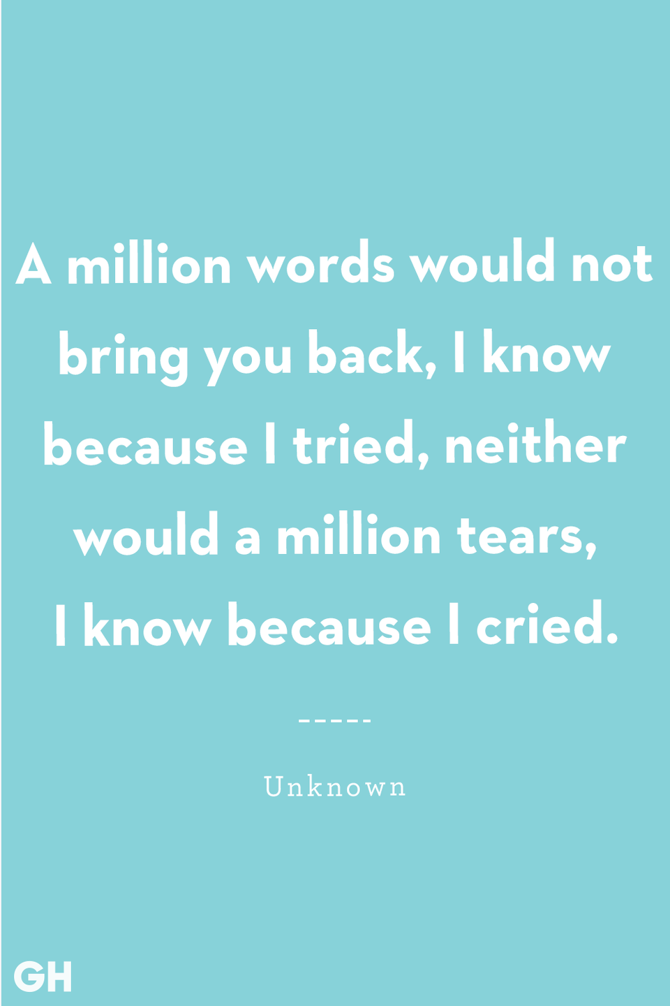 <p>A million words would not bring you back, I know because I tried, neither would a million tears, I know because I cried.</p>