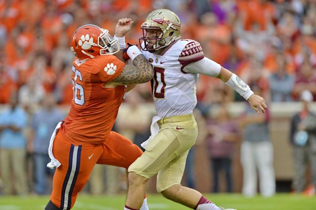 """Clemson's <a class=""""link rapid-noclick-resp"""" href=""""/ncaaf/players/226639/"""" data-ylk=""""slk:Scott Pagano"""">Scott Pagano</a> combined for 92 tackles over the past three seasons. (AP Photo/Richard Shiro)"""