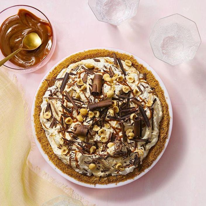 "<p>If Mom loves pie, she won't be able to resist this no-bake treat piled high with chocolate, hazelnuts, and graham crackers.</p><p><em><a href=""https://www.womansday.com/food-recipes/food-drinks/a28354643/banoffee-ice-cream-pie-recipe/"" rel=""nofollow noopener"" target=""_blank"" data-ylk=""slk:Get the recipe for Banoffee Ice Cream Pie."" class=""link rapid-noclick-resp"">Get the recipe for Banoffee Ice Cream Pie.</a></em></p>"