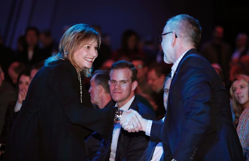 General Motors CEO Mary Barra (L) -- the only female CEO in the auto industry -- is seen at the official debut of the new 2019 Chevrolet Silverado 1500 at the Detroit Auto show on January 13, 2018