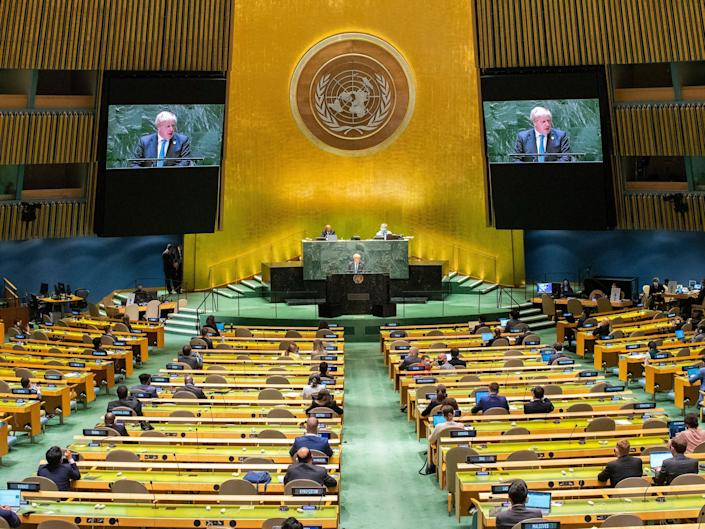 Boris Johnson speaking at the United Nations General Assembly