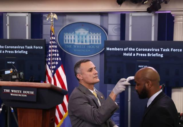 The press briefing room amid the COVID-19 pandemic seen in Washington