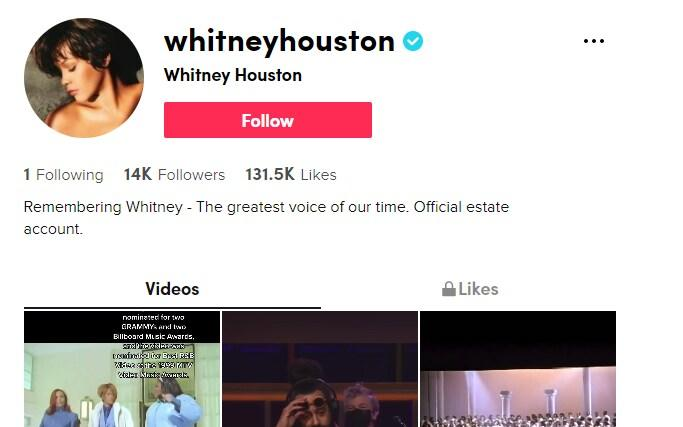 Whitney Houston's official TikTok account