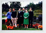 """<p>A colourful photo, this sees the royal family pose with their dogs, with the Queen dressed in an all-green skirt suit. </p><p><a href=""""https://www.instagram.com/p/_qIkrpL-y1/?utm_source=ig_web_copy_link"""" rel=""""nofollow noopener"""" target=""""_blank"""" data-ylk=""""slk:See the original post on Instagram"""" class=""""link rapid-noclick-resp"""">See the original post on Instagram</a></p>"""