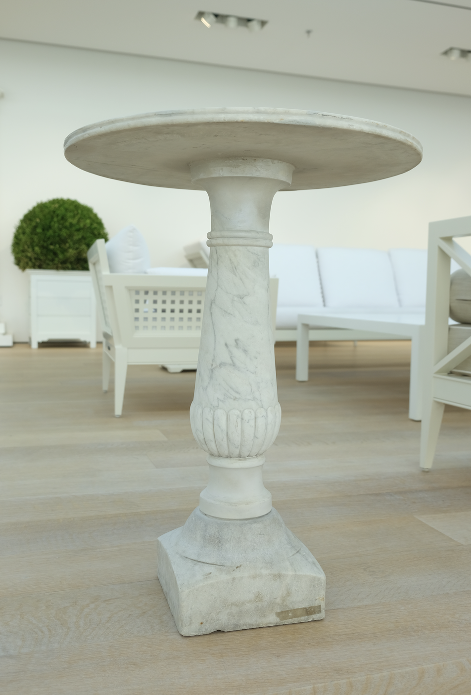 <p>These 19th-century Italian garden tables are from the Massies' personal antiquities collection. They are sure to be a statement piece whether used indoors or outside.</p>