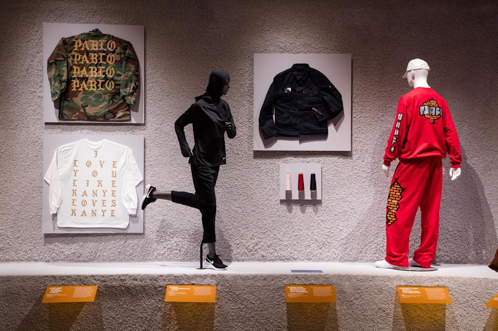 Fashion forward: Kanye West's The Life of Pablo tour merchandise and the Nike Pro Hijab on display at the Design Museum: Luke Hayes/The Design Museum