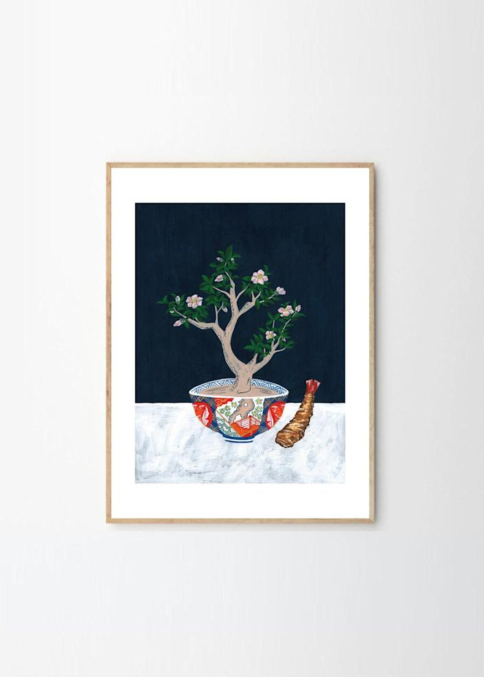 """Why not pair your floral art with a small snack? This painting, by artist Jaron Su, was inspired by a shrimp tempura restaurant in Tokyo. $58, The Poster Club. <a href=""""https://theposterclub.com/product/jaron-su-daikokuya-and-camellia/"""" rel=""""nofollow noopener"""" target=""""_blank"""" data-ylk=""""slk:Get it now!"""" class=""""link rapid-noclick-resp"""">Get it now!</a>"""