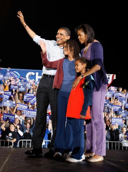 Democratic presidential nominee U.S. Sen. Barack Obama (D-IL) and his wife Michelle stand with their daughters Malia (L) and Sasha during a campaign rally at Parkview High School November 1, 2008 in Springfield, Missouri. Obama continues to campaign against Republican presidential nominee Sen. John McCain (R-AZ) as Election Day draws near. (Photo by Joe Raedle/Getty Images)