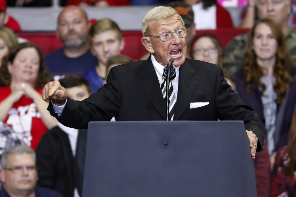 Lou Holtz speaks at a Donald Trump campaign rally.