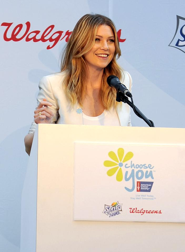 """Together with the American Cancer Society, """"Grey's Anatomy"""" actress Ellen Pompeo launched the national Choose You campaign in Times Square Tuesday. """"Cancer is something that touches everyone's lives,"""" Pompeo told Reuters. """"Women are busy taking care of other people. This is about choosing yourself."""" Mimi Ritzen Crawford/<a href=""""http://www.gettyimages.com/"""" target=""""new"""">GettyImages.com</a> - May 4, 2010"""