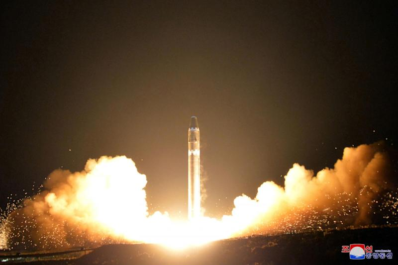 The North Korean government launches what it calls a Hwasong-15 intercontinental ballistic missile at an undisclosed location in North Korea: AP