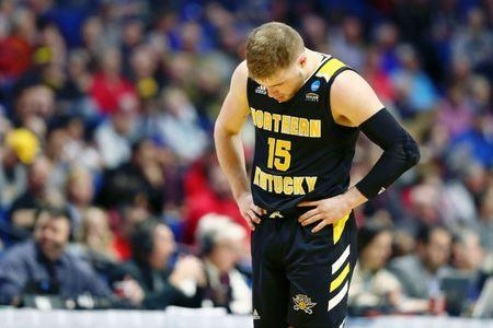 Mar 22, 2019; Tulsa, OK, USA; Northern Kentucky Norse guard Tyler Sharpe (15) reacts after a play during the second half of their game against the Texas Tech Red Raiders in the first round of the 2019 NCAA Tournament at BOK Center. The Texas Tech Red Raiders won 72-57. Mandatory Credit: Mark J. Rebilas-USA TODAY Sports