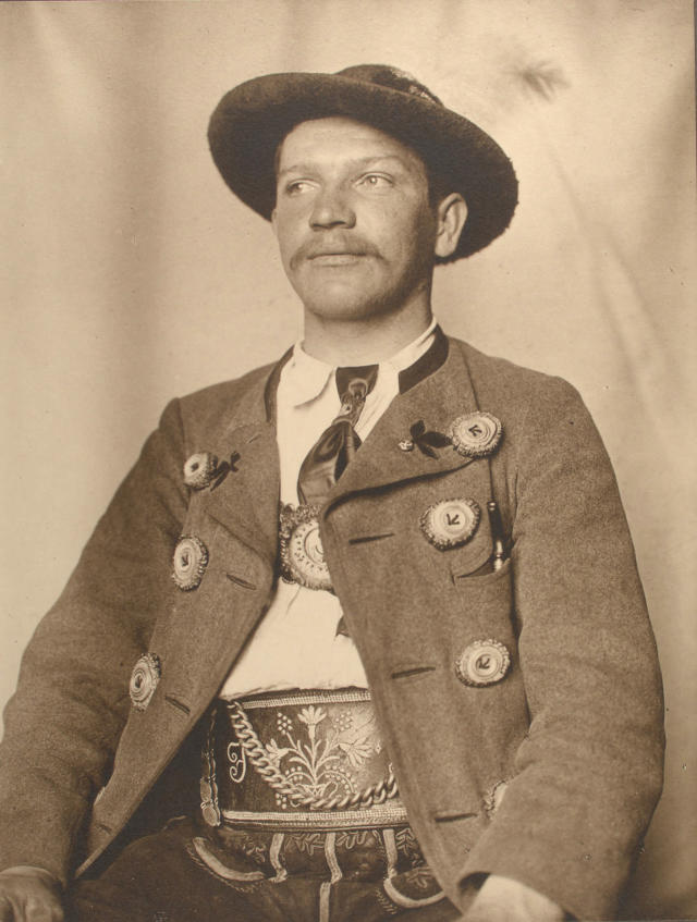 <p>Bavarian man. (Photograph by Augustus Sherman/New York Public Library) </p>