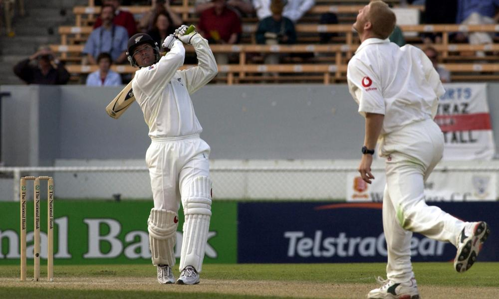 Nathan Astle taking it to England during his record-breaking double century in Christchurch.