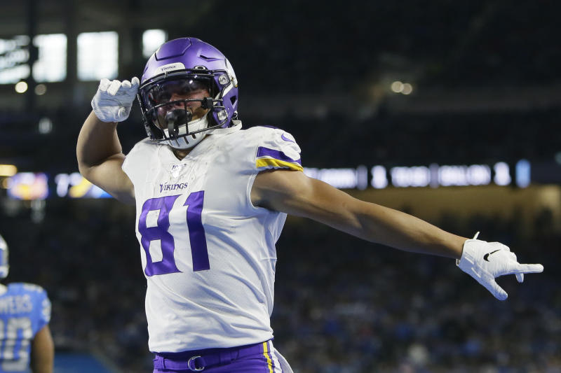 Minnesota Vikings wide receiver Olabisi Johnson reacts after catching a 1-yard pass for a touchdown during the first half of an NFL football game against the Detroit Lions, Sunday, Oct. 20, 2019, in Detroit. (AP Photo/Duane Burleson)