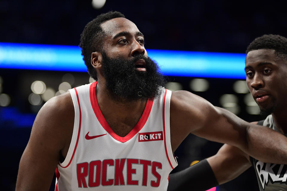 Caris LeVert (right) cannot be the anchor of a trade for Houston Rockets superstar James Harden. (Steven Ryan/Getty Images)