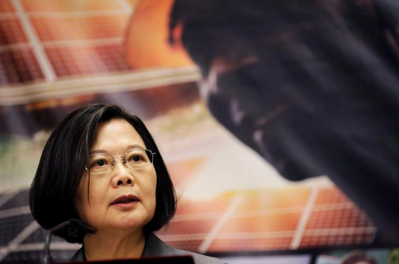 : Taiwan's President Tsai Ing-wen speaks during a news conference at the National Palace during her one-day visit to Haiti, in Port-au-Prince