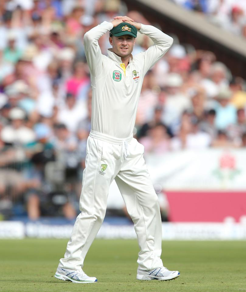 Australia captain Michael Clarke shows his frustration as England opening pair Root and Cook survive early chances on day two of the Third Investec Ashes test match at Old Trafford Cricket Ground, Manchester.