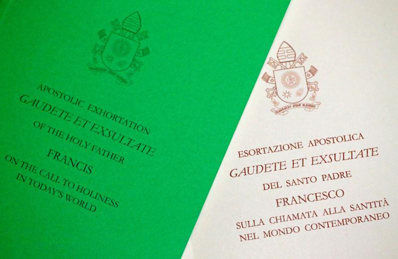 "A photo illustration of the papal document ""Gaudete et Exsultate"" (Rejoice and Be Glad)."