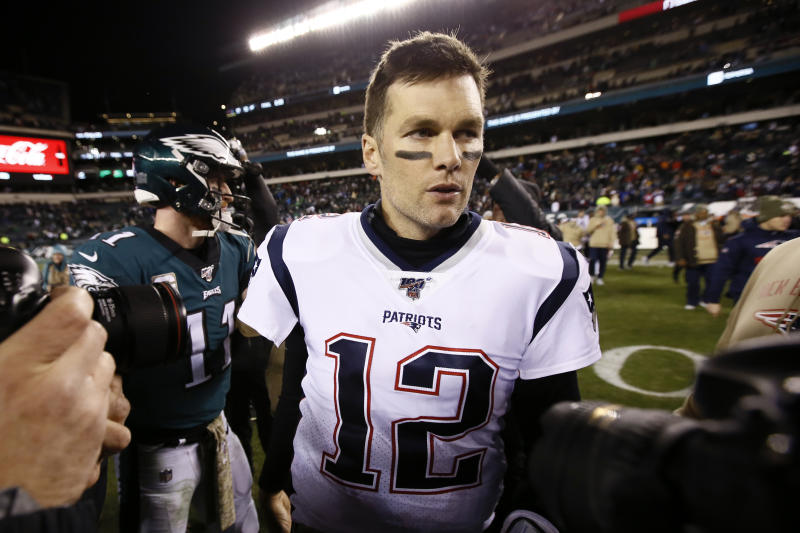 New England Patriots' Tom Brady walks the field after an NFL football game against the Philadelphia Eagles, Sunday, Nov. 17, 2019, in Philadelphia. New England won 17-10. (AP Photo/Michael Perez)