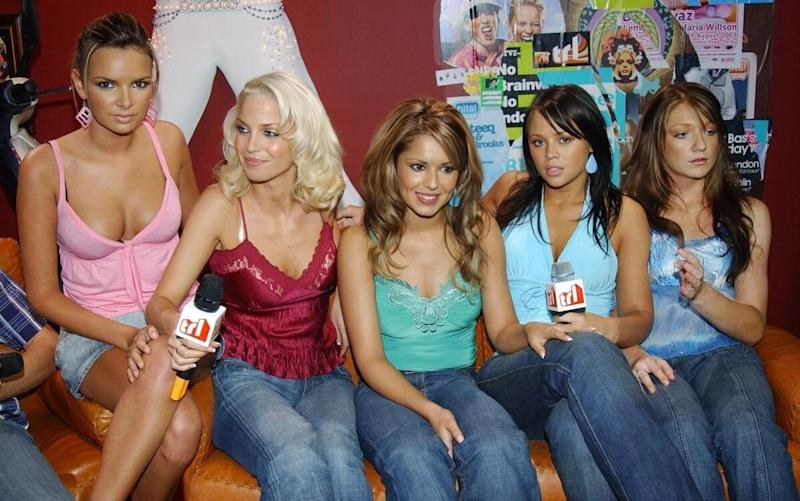 (from left to right) Nadine Coyle, Sarah Harding, Cheryl Tweedy, Kimberley Walsh and Nicola Roberts from pop group Girls Aloud during their guest appearance on MTV's TRL - Total Request Live - show, at the new studios in Leicester Square, central London