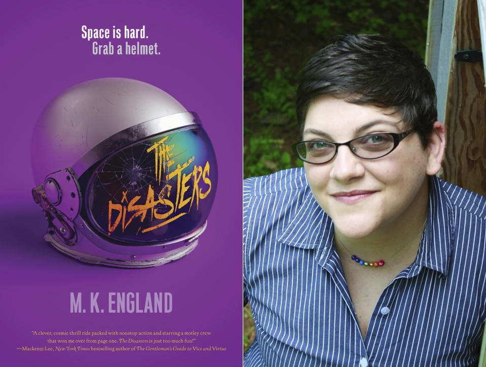 """This combination photo shows cover art for """"The Disasters,"""" left, and a portrait of author M.K. England, whose debut novel is in development for the CW network. (HarperTeen via AP, left, and M.K. England via AP)"""