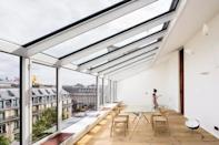 """<p>Situated in the centre of the city, this stylish Airbnb was recently renovated by architect Vincent Parriera. Its huge glass roof offers a beautiful view of the Opéra Garnier. The apartment, which used to be a jewellery factory in the 19th Century until recently, is now a terrific place to stay in Paris. Its changing view is breathtaking the Opéra Garnier's beautiful dome, illuminated by night, and Paris for as far as the eye can see.</p><p><strong>Sleeps:</strong> 4</p><p><strong>Price per night: </strong>£281</p><p><a class=""""link rapid-noclick-resp"""" href=""""https://airbnb.pvxt.net/a1xJRN"""" rel=""""nofollow noopener"""" target=""""_blank"""" data-ylk=""""slk:SEE INSIDE"""">SEE INSIDE</a></p>"""