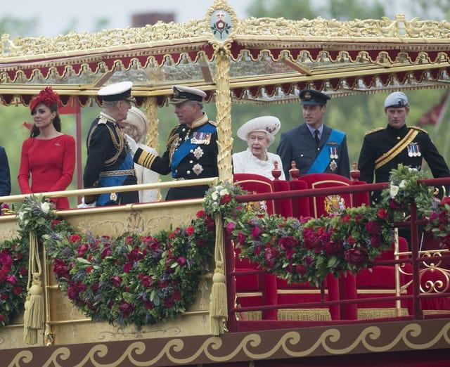 The Royal Party during the Diamond Jubilee Pageant on the River Thames (Paul Grover/Daily Telegraph/PA)