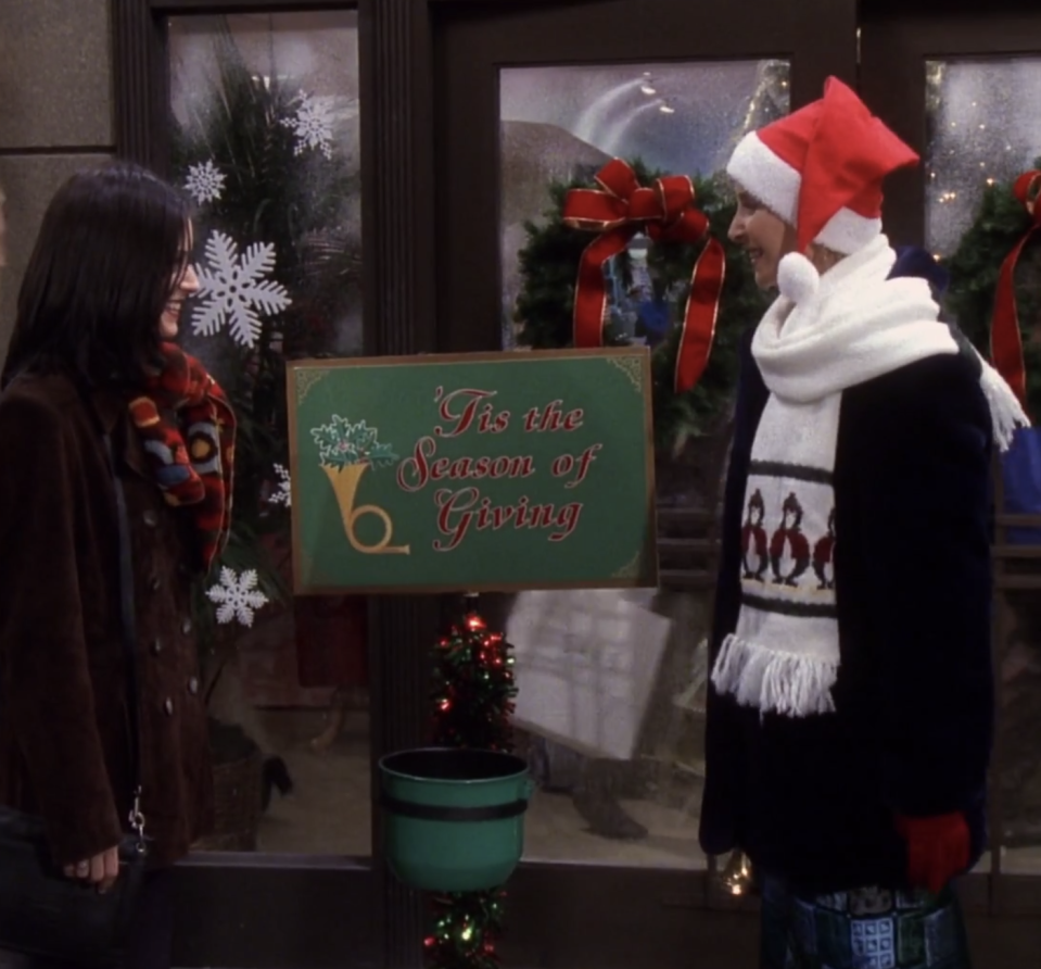 "<p>Ross and Chandler owe Joey an apology after a script-writing exercise goes awry. Trying to spread holiday cheer, Phoebe dresses as Santa's elf but soon discovers that her fellow New Yorkers are mistaking her donation bucket as a trash bin. But the real story of this episode revolves around Danny (<strong>George Newbern</strong>), who, after agreeing to date Rachel, is spotted putting his arms around another woman, a.k.a. his sister Krista (<strong>Julie Lauren</strong>).</p><p><a class=""link rapid-noclick-resp"" href=""https://www.amazon.com/gp/video/detail/B000PB3DTY/?tag=syn-yahoo-20&ascsubtag=%5Bartid%7C10055.g.34990101%5Bsrc%7Cyahoo-us"" rel=""nofollow noopener"" target=""_blank"" data-ylk=""slk:WATCH ON AMAZON"">WATCH ON AMAZON</a></p>"