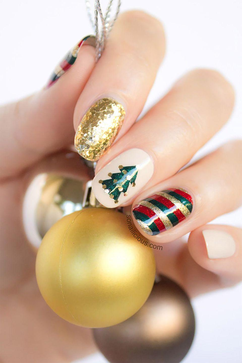 """<p>The most wonderful time of the year can also be one of the most stressful. Take a break from the holiday hustle and bustle and invite the girls over for an afternoon of pampering. Treat yourself to professional services or get inspired to <a href=""""https://www.countryliving.com/diy-crafts/g5035/christmas-nail-art-ideas/"""" rel=""""nofollow noopener"""" target=""""_blank"""" data-ylk=""""slk:do your own nails"""" class=""""link rapid-noclick-resp"""">do your own nails</a>, hair, makeup. You could even recreate this stunning manicure from <a href=""""http://sonailicious.com/gold-red-green-christmas-nail-art-tutorial/"""" rel=""""nofollow noopener"""" target=""""_blank"""" data-ylk=""""slk:So Nailicious."""" class=""""link rapid-noclick-resp"""">So Nailicious.</a> </p>"""