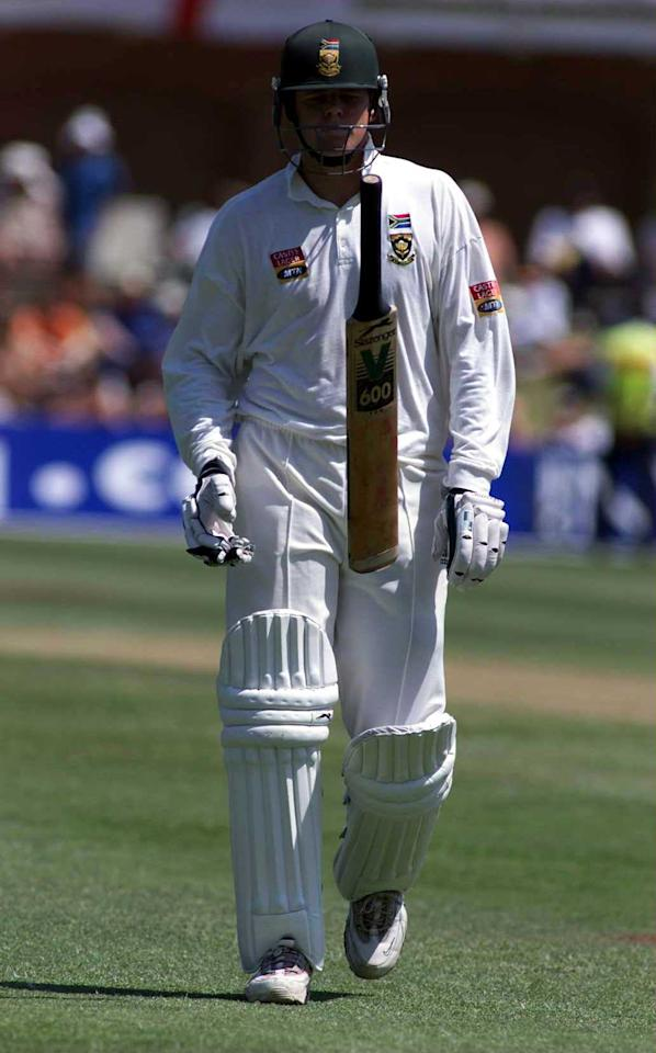 10 Dec 1999:  Shaun Pollock of South Africa throws his bat in the air after being dismissed by Andrew Flintoff of England during the 2nd Test match at St George's cricket ground Port Elizabeth in South Africa. Mandatory Credit: Laurence Griffiths/ALLSPORT