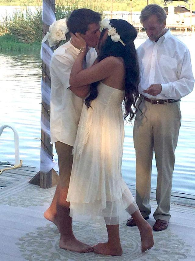 Kaleb and Kameron Pierce got married this weekend, only one day after his perfect wakesurfing proposal. (Photo: Courtesy Kameron Wike)