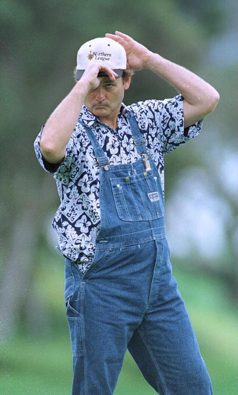 So apparently Bill Murray made denim overalls hip the first time around, and now the kids today are just copying his 1996 golfing look. Well played Mr. Murray. Well played.