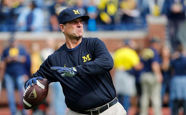 Jim Harbaugh likes milk and steak together? (Getty)