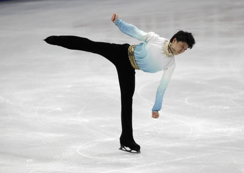 Japan's Yuzuru Hanyu performs during the men's single short program competition in the ISU Four Continents Figure Skating Championships in Seoul, South Korea, Friday, Feb. 7, 2020. (AP Photo/Lee Jin-man)