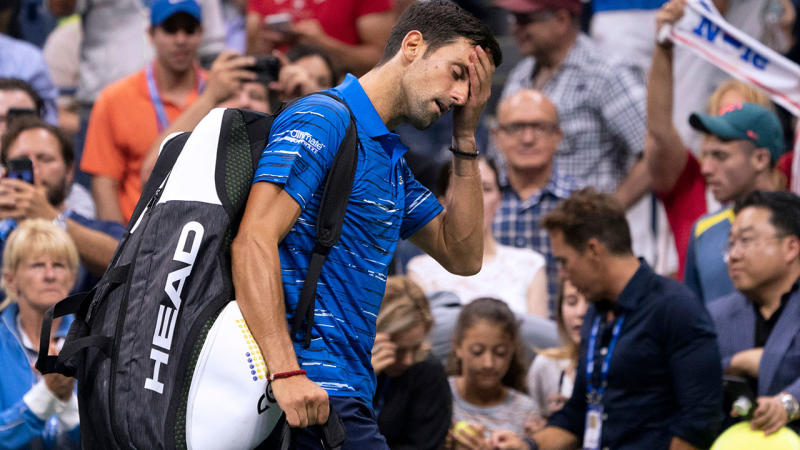 Novak Djokovic, pictured here after retiring hurt at the US Open.