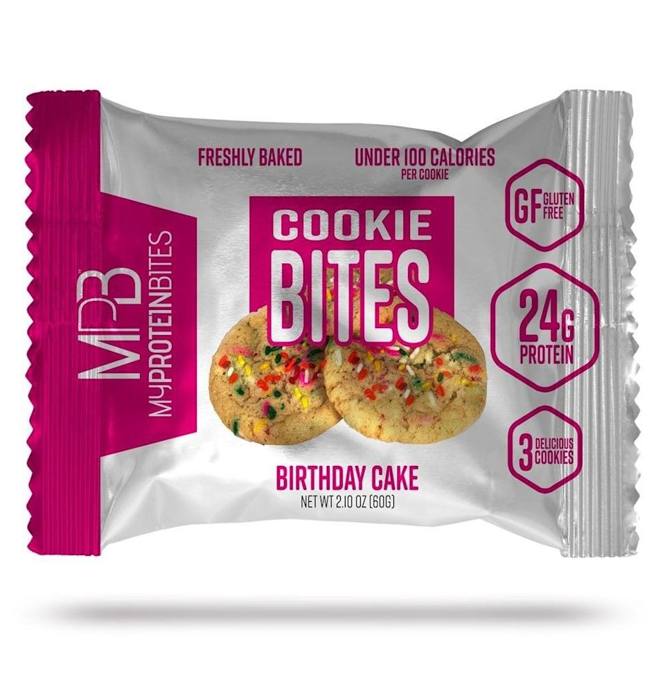 <p>These <span>My Protein Bites Protein Cookies</span> ($27 for eight) have a whopping 24 grams of protein <em>and</em> they're birthday cake flavor. Yes, please.</p>