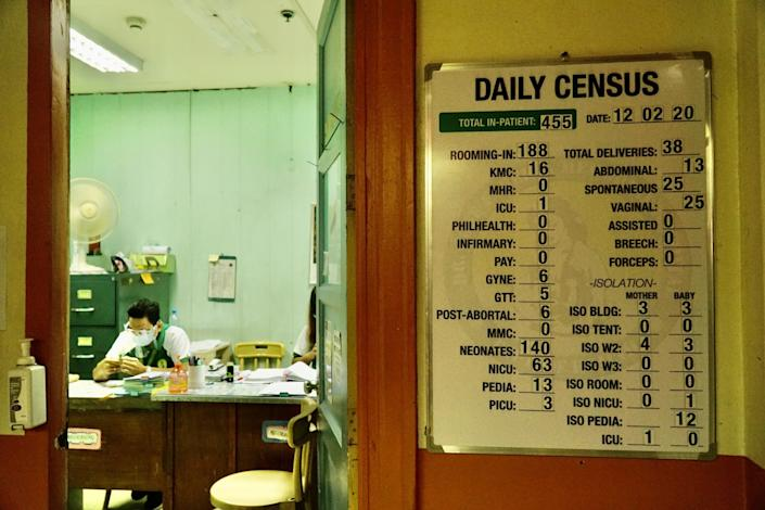 A sign lists daily patient data
