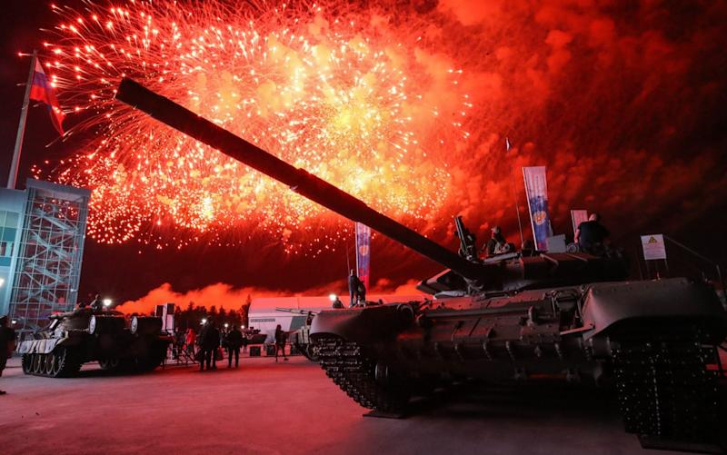 Fireworks go off during the closing ceremony at the 2020 International Army Games at the Alabino training ground, Russia. Sept 5, 2020. - Sergei Karpukhin/TASS