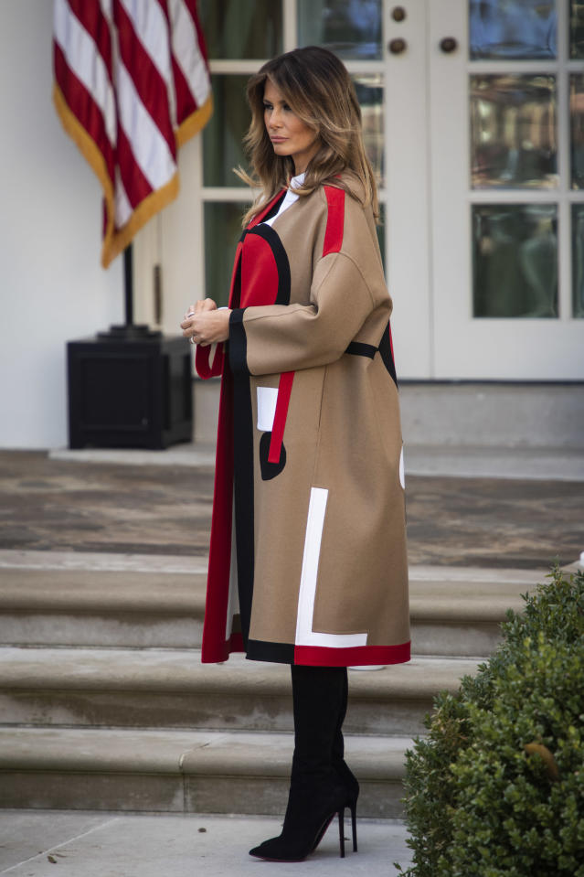<p>The First Lady wore a statement, $9000 (£7000) coat to celebrate the traditional National Thanksgiving Turkey Presentation. The outerwear piece was made by Dior – one of Melania's go-to labels. <em>[Photo: Getty]</em> </p>