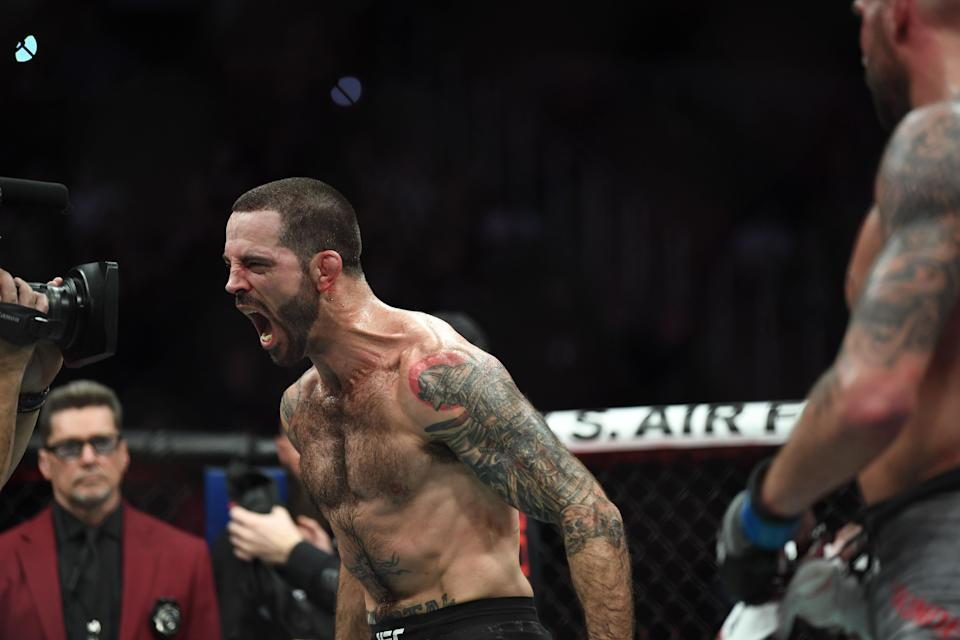 Dec 14, 2019; Las Vegas, NV, USA; Matt Brown (left) reacts after defeating Ben Saunders (right) during UFC 245 at T-Mobile Arena. Mandatory Credit: Stephen R. Sylvanie-USA TODAY Sports