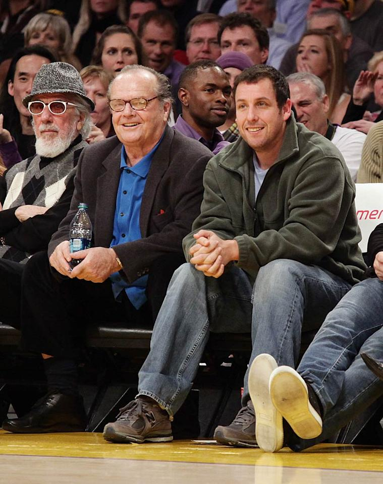 """Adam Sandler shared some laughs with Jack Nicholson, who was spotted rooting for the home team in his usual courtside seat. Noel Vasquez/<a href=""""http://www.gettyimages.com/"""" target=""""new"""">GettyImages.com</a> - January 9, 2011"""