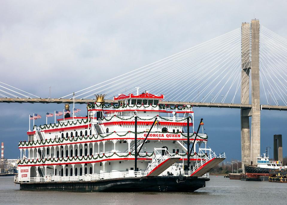 <p><strong>What's the big picture here?</strong> The city sprung up around the Savannah River, which still plays a large part in daily commercial life. Savannah Riverboat Cruises' two classic riverboats—The River Queen and the Georgia Queen, with capacities of 600 and 1,000 respectively—glide along the water for 90 minutes, visiting points of interest and serving up some tasty Southern treats.</p> <p><strong>Tell us about your fellow tourees.</strong> My lunchtime tour was very busy, with hundreds of people, mostly tourists, packing the tables and decks. It didn't feel too crowded though, with plenty of places to sit and watch the landscape roll by.</p> <p><strong>How is the guided part of the tour?</strong> The narration gives enough general history and pointers for sightseeing that it feels helpful but not intrusive. It really is worth tuning where you can hear it best on the top deck, but if you want a quieter cruise you can go down below.</p> <p><strong>Any other tips?</strong> If you keep a sharp eye on the water, you might spot some dolphins. The servers are bright and breezy as they take orders and deliver drinks, and the buffet is excellent, the fried chicken a definite highlight.</p> <p><strong>Sum this up for us.</strong> This is 90 minutes well spent. The river is such a huge part of Savannah's history, and sailing part of it in an evocative, historic riverboat is the only way to see it.</p>
