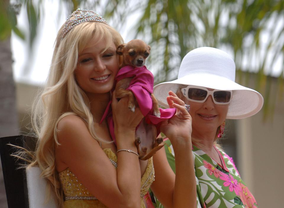 LOS ANGELES - JUNE 12:  Grand Marshall Paris Hilton (L) and her mother Kathy Hilton ride on the float at the 2005 West Hollywood Gay Pride Parade, June 12, 2005 in Los Angeles, California.  (Photo by Phil McCarten/Getty Images)