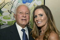 FILE - Former Louisiana Gov. Edwin Edwards, left, celebrates his 90th birthday with his wife, Trina Edwards, at the Renaissance Hotel in Baton Rouge, La., in this Aug. 12, 2017, file photo. Edwin Washington Edwards, the high-living four-term governor whose three-decade dominance of Louisiana politics was all but overshadowed by scandal and an eight-year federal prison stretch, died Monday, July 12, 2021 . He was 93. Edwards died of respiratory problems with family and friends by his bedside, family spokesman Leo Honeycutt said. He had suffered bouts of ill health in recent years and entered hospice care this month at his home in Gonzales, near the Louisiana capital. (Hilary Scheinuk/The Advocate via AP)